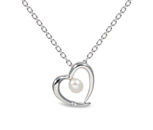 Sterling Silver White Freshwater Pearl and CZ Heart Pendant with Adjustable Chain of 40cm