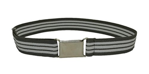 Buyless Kids Adorable Adjustable Stretch Belt with Silver Square Buckle - Available in 26 colors - Grey-Stripped