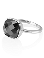 M&S Collection Finest Sterling Silver Hematite Gemstone Ring