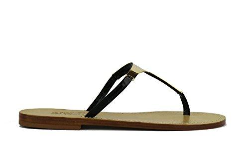 IL SANDALO DI CAPRI AH587 sandali donna pelle nero oro (39 EU)
