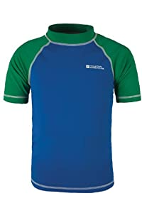 Mountain Warehouse Rash Vest Boys Girls Swimming Beach Quick Dry Swim UV Wetsuit Short Sleeve Top Cobalt 2-3 years