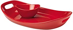 Rachael Ray Serveware 14-Inch Stoneware Serving Platter and Dipper Bowl, Red