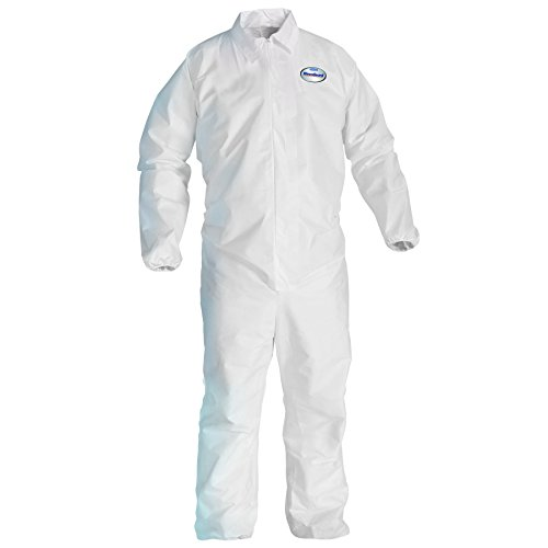 Kleenguard A40 Liquid & Particle Protection Coveralls (37695), Zip Front, Elastic Wrists & Ankles, White, Large, Convenience Pack of 1 Pair