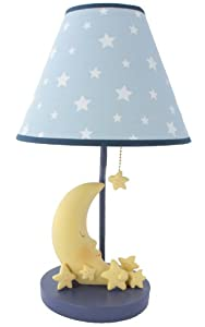 Sleepy Moon and Stars Table Lamp with Matching Night Light - Fantastic Hand Painted Details by Bright Light Partners