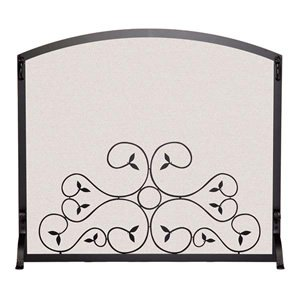 Arched Scroll Fireplace Screen (39 in. L x 33 in. H (25 lbs.) - Matte Black) south carolina gamecocks indoor banner scroll sku pas233835