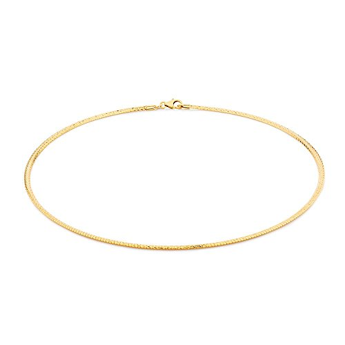 2mm thick 18K gold plated on solid sterling silver 925 stamped Italian Omega snake link chain necklace chocker with lobster claw clasp jewellery jewelry - Available in lengths: inch 12