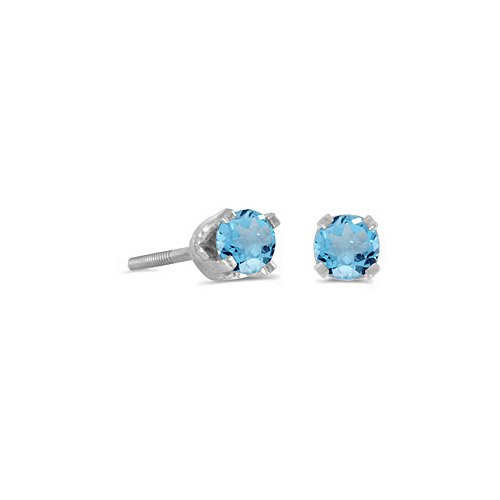 14k White Gold Round Blue Topaz Screw-back Stud Earrings