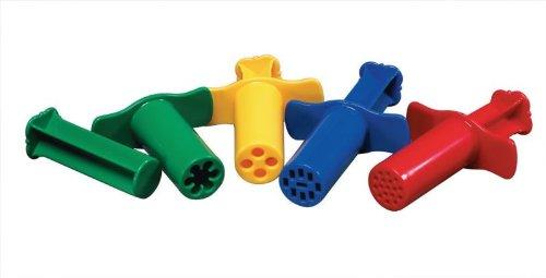 School Smart Dough Extruders Set - Assorted Designs - Set of 12 - Assorted Colors