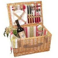 Picnic Gift Rumba Willow Basket with Deluxe Service for Two