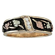 buy Black Hills Gold Antiqued Women'S Wedding Ring With Diamonds From Coleman - Size 4