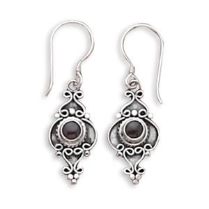 Round Garnet Cabochon Oxidized Earrings on French Wire