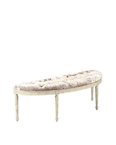 Zentique Louis Curved Bench, Champagne/Ivory