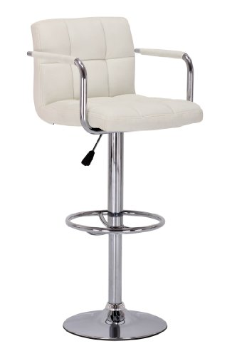 Premier Housewares Adjustable Bar Chair with Padded Leather Effect Seat and Chrome Base, Set of 2, 87 x 43 x 38 cm, Cream