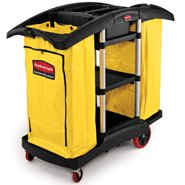 Rubbermaid Commercial FG9T7900BLA Full Size Housekeeping Service Cart with Zippered Yellow Vinyl Bags, 2 Shelves, Black
