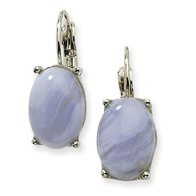 1928 Silver-tone Blue Lace Agate Oval Leverback Earrings