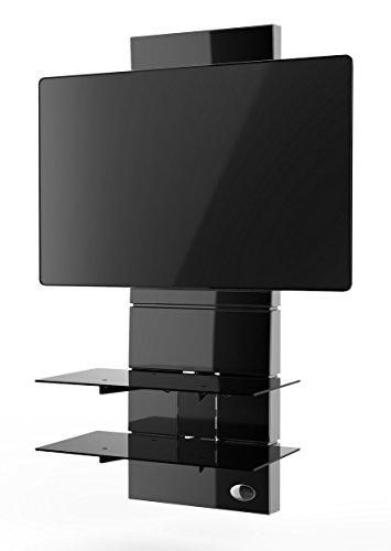 """Meliconi Ghost Design 3000 Supporto per TV da 32"""" a 63"""" con Mensole in Vetro Temperato, Nero"""