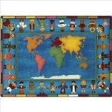 "Joy Carpets Kid Essentials Early Childhood Hands Around The World Rug, Multicolored, 10'9"" x 13'2"""