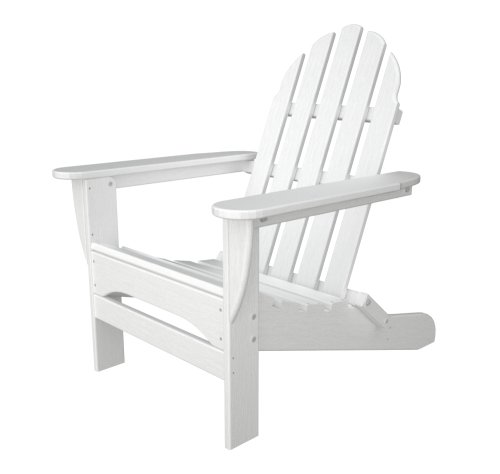 Polywood Outdoor Furniture Classic Adirondack Chair, White-Recycled Plastic Materials