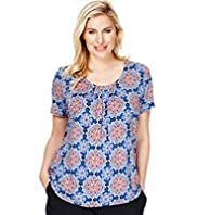 Plus 7 Pleat Kaleidoscope Print Top with Stay New™