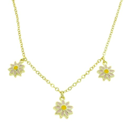 Lily Nily 18k Gold Overlay Children's Pink Enamel Flowers Dangle Necklace