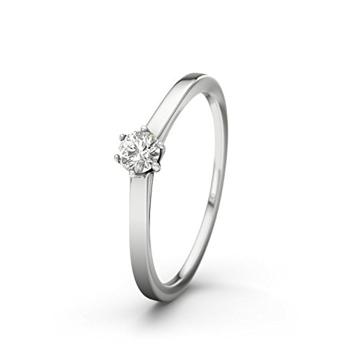 21DIAMONDS Women Ring Long Beach VS2 0.15 CT Brilliant Cut Diamond Engagement Ring - Silver Engagement Ring