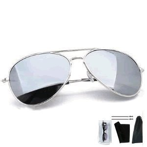 Mach10 Eyewear Unisex Men's / Women's Silver Fox Aviator Sunglasses - Fully Mirrored Aviator Sunglasses with Ultra Light Weight Silver 'T-Spark' Frames come compete with Protective Case, Cleaning Cloth, Micro Fibre Bag & Matching Cords offering Full UV400