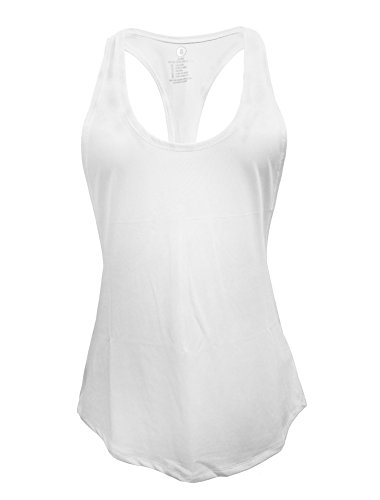 Cabales Women's Flowy Racerback Tank Top Ladies Yoga Fitness Racerback Shirt,White,Small (Tank Tops Running compare prices)