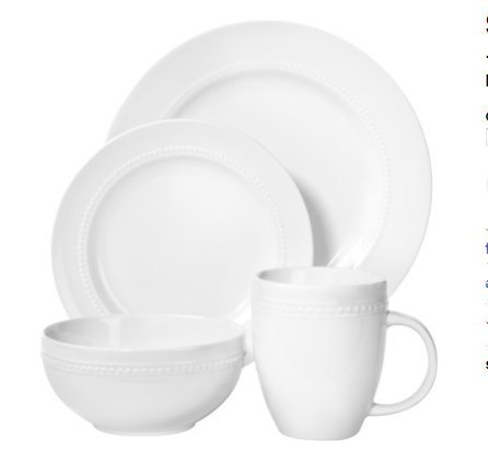 ThresholdTM 16 Piece Round Beaded Dinnerware Set - White (Threshold Dishes compare prices)