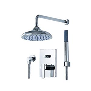 Fluid Faucets F1841-T Utopia Pressure Balancing Bathtub and Shower Faucet with Rain Showerhead and Hand shower, Chrome, 1-Pack