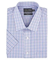 Cotton Rich Short Sleeve Quick Iron Checked Shirt