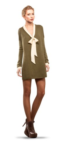 MAXSTUDIO OVERSIZE V-NECK SWEATER DRESS HEATHER ARMY, M
