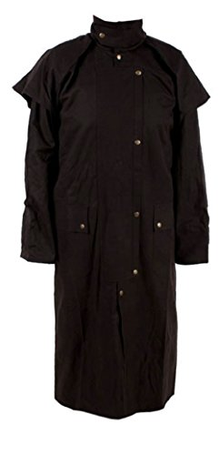 Long Black Mens Oil Cloth Oilskin Western Australian Waterproof Duster Coat Jacket Heavy Duty Warm Tough (XL)