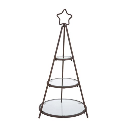 Metal And Glass Tree Shape 3-Tier Rack, Rust front-1041415