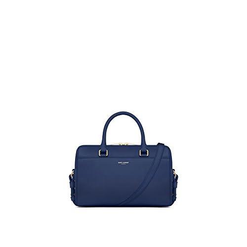 (サンローランパリ) Saint Laurent CLASSIC BABY DUFFLE BAG IN Black,Petrol Blue,Blue,Royal Blue,Fog,Dove White,Lipstick Red LEATHER (並行輸入品) LASTERR (Blue)