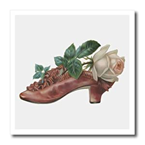 ht_104651_1 Dooni Designs Vintage Designs - Vintage Lovely Womans Shoe With Beautiful White Rose - Iron on Heat Transfers - 8x8 Iron on Heat Transfer for White Material