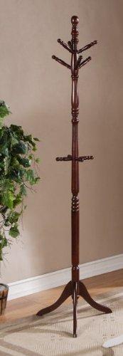 Elegant Birch Wood Six Foot 10 Wood Hooks Cherry Color Coat Rack F04041