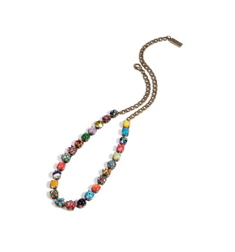 'Vintage' Collection Necklace Designed by Amaro Jewelry Studio Enhanced with Flower Elements Set with Chinese Turquoise, Amazonite, Rhodonite, Blue Onyx, Pink Howlite, Yellow Jade, Green Jade, Amethyst and Swarovski Crystals