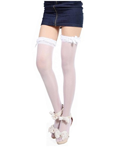 Ru Sweet White Ladies' Thigh High/Over Knee High Solid Opaque Socks