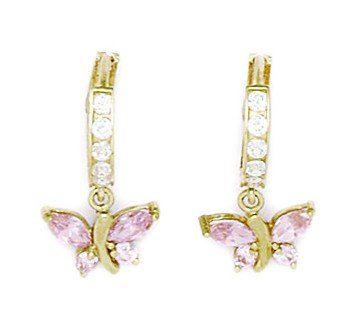 14ct Yellow Gold Pink CZ Butterfly Drop Hinged Earrings - Measures 19x10mm