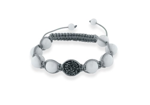 Shamballa Unisex Bracelet Grey Cord White Agate with Green Crystals Beads Adjustable 7.5 Inch