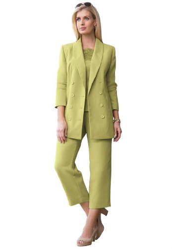 b738f7196c4 Jessica London Women s Plus Size Double Breasted Pantsuit Meadow Sage