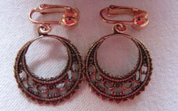 Solid Copper Clip on Earrings Ce148