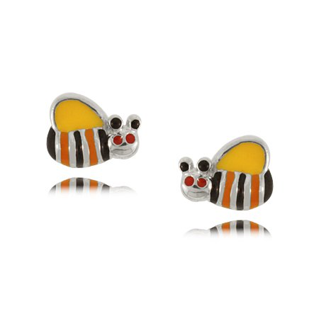 Child's Bee Earrings with Colored Enamel in Sterling Silver
