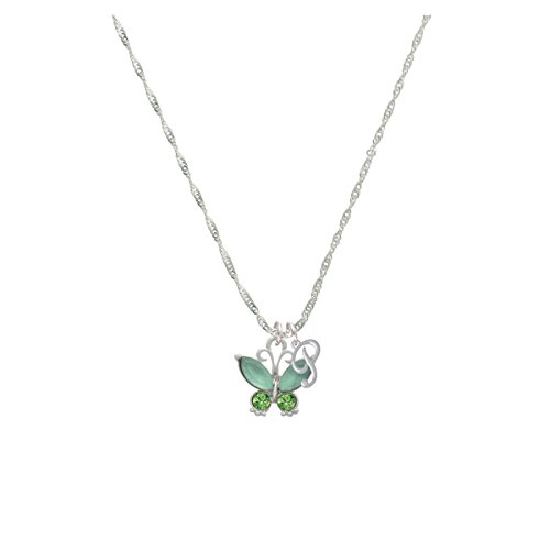 Butterfly With Green Wings Mini Gelato Initial - P - Grace Necklace
