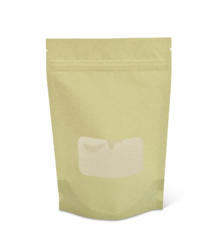 Pacific Bag 430-311GRW Stand-Up Pouch, 8 oz, Light Green Rice Paper with Zipper and Window (Case of 500) (Rice Paper Pouches compare prices)