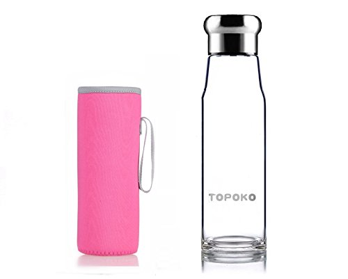 TOPOKO Handmade 18.5 Oz Glass Water Bottle-Extra Strong Crystal Glass Bottle With Handmade Colorful Handle Nylon Sleeve (Pink)