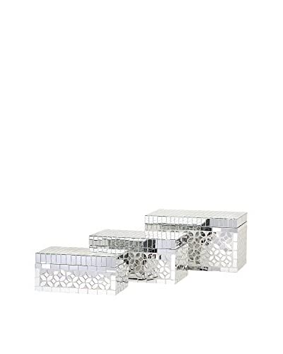 Set of 3 Mandiline Mirror Mosaic Boxes, Silver