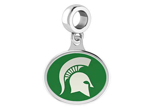 Michigan State Spartans MSU Sterling Silver Enamel Drop Charm Fits All European Style Charm Bracelets