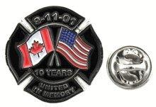 9/11 Commemorative Canada/USA Lapel Pin 12 Pack