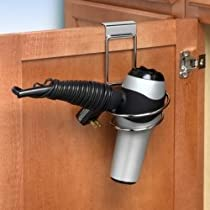 Over the Cabinet Door Chrome Folding Hair Dryer Holder Caddy